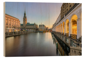 Cuadro de madera  Hamburg Alster Arcades and City Hall - Michael Valjak
