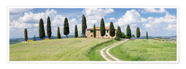 Póster Farm house with cypress trees near Pienza, Val d'Orcia (Orcia Valley), UNESCO World Heritage Site, S