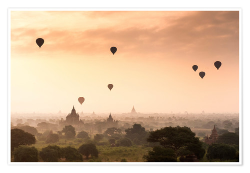 Póster Hot air balloons over the temples of Bagan (Pagan), Myanmar (Burma), Asia