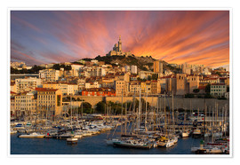 Póster Marseille sunset