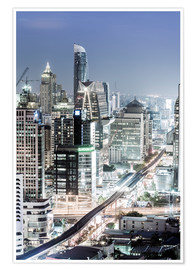 Póster Bangkok skyline showing the Skytrain and Chit Lom, Sukhumvit and Ploen Chit areas, Bangkok, Thailand