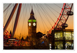 Póster  London Eye (Millennium Wheel) frames Big Ben at sunset, London, England, United Kingdom, Europe - Charles Bowman