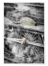Póster  The Flying Scotsman steam locomotive arriving at Goathland station on the North Yorkshire Moors Rail - John Potter