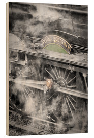Cuadro de madera  The Flying Scotsman steam locomotive arriving at Goathland station on the North Yorkshire Moors Rail - John Potter