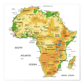 Póster Africa - Topographic Map