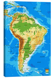 Lienzo  South America - Topographic Map