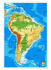Póster South America - Topographic Map