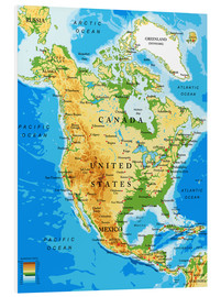 Cuadro de PVC  North America - Topographic map
