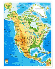 Póster  North America - Topographic map