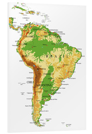 Cuadro de PVC  South America - Topographic Map