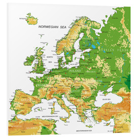 Cuadro de PVC  Europe - Topographic Map