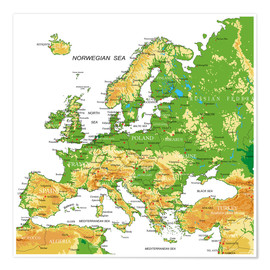 Póster Europe - Topographic Map