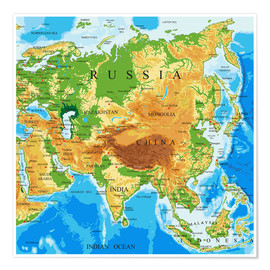 Póster Asien - Topographic Map