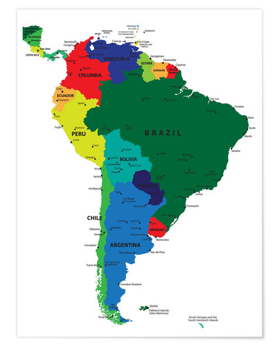 Póster South America - Political Map