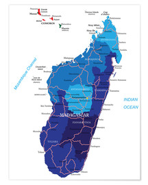 Póster Madagascar - Political Map