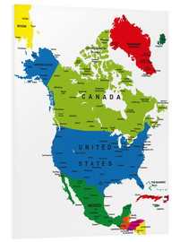 Cuadro de PVC  North America - Political Map
