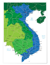 Póster Vietnam - Political Map