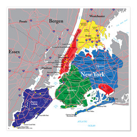Póster New York City - Political Map