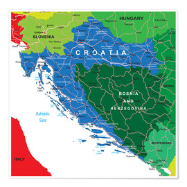 Póster  Croatia - Political Map
