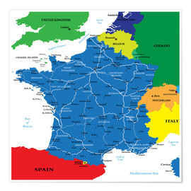 Póster France - Political Map