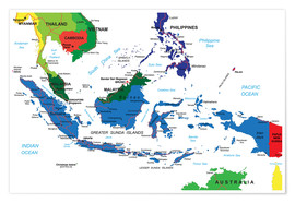 Póster Indonesia - Political map, before 2002