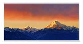 Póster New Zealand Mount Cook Sunset