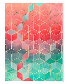 Póster  Rose And Turquoise Cubes - Elisabeth Fredriksson
