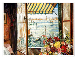 Póster  Looking out a window in Venice - Christopher Nevinson
