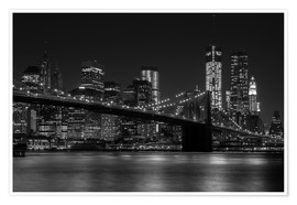 Póster  Brooklyn Bridge at Night - Thomas Klinder