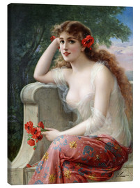 Lienzo  Young Beauty with Poppies - Emile Vernon