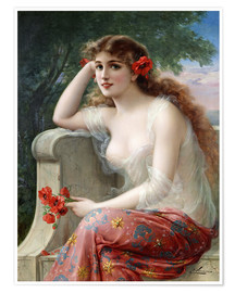 Póster  Young Beauty with Poppies - Emile Vernon