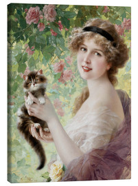 Lienzo  Young girl with a kitten - Emile Vernon