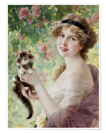 Póster Young girl with a kitten