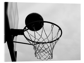 Metacrilato  A view of a basketball hoop from below