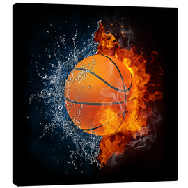 Lienzo  Basketball in the battle of the elements