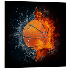 Cuadro de madera  Basketball in the battle of the elements