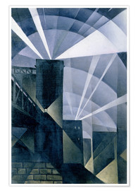 Póster  The First Searchlights at Charing Cross - Christopher Nevinson