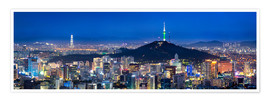 Póster  Seoul panorama at night overlooking Namsan and N Seoul Tower - Jan Christopher Becke