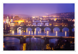 Póster  Prag with Vltava at dusk - Frank Fischbach