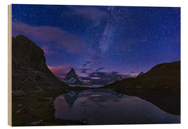 Cuadro de madera  Matterhorn with milky way, Switzerland - Frank Fischbach