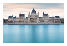 Póster  Hungarian Parliament with Danube, Budapest - Frank Fischbach