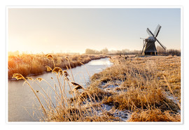 Póster  Windmill near Sande at cold winter morning - Reemt Peters-Hein