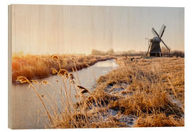 Cuadro de madera  Windmill near Sande at cold winter morning - Reemt Peters-Hein