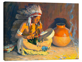Lienzo  The chief song - Eanger Irving Couse