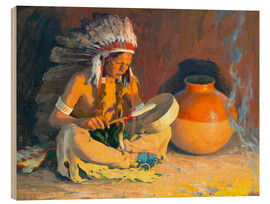 Cuadro de madera  The chief song - Eanger Irving Couse