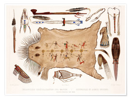 Póster  buffalo robe and other articles of the mandans - Karl Bodmer