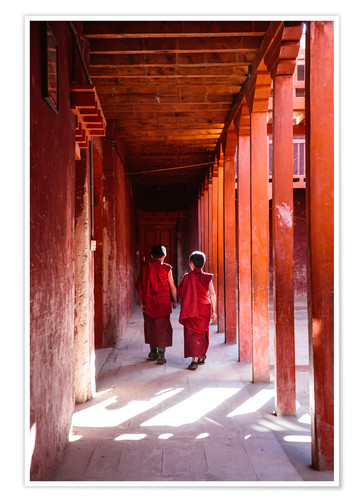 Póster Two young monks in a monastery, Nepal