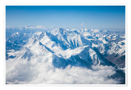 Póster Aerial view of mount Everest, Himalaya