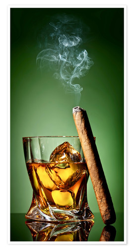Póster Cigar on the rocks