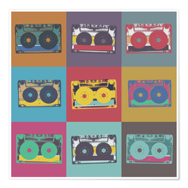 Póster  colorful cassettes